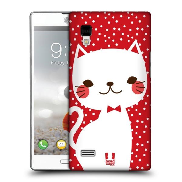 Plastové pouzdro na mobil LG Optimus L9 P760 HEAD CASE KOČIČKA BÍLÁ NA ČERVENÉ (Kryt či obal na mobilní telefon LG Optimus L9 P760)