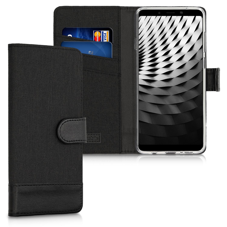Luxusní flipové pouzdro KWmobile Canvas Wallet na Samsung Galaxy A9 2018  černé adef3b2d8de