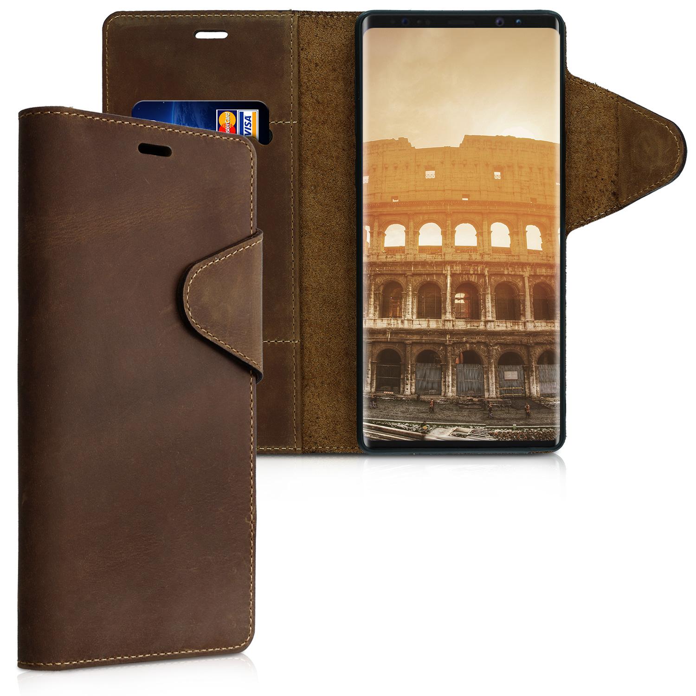 Prémiové kožené flip pouzdro Kalibri na Samsung Galaxy Note 9 Hnědé (Kožený  flip kryt či 47b5e7152fa