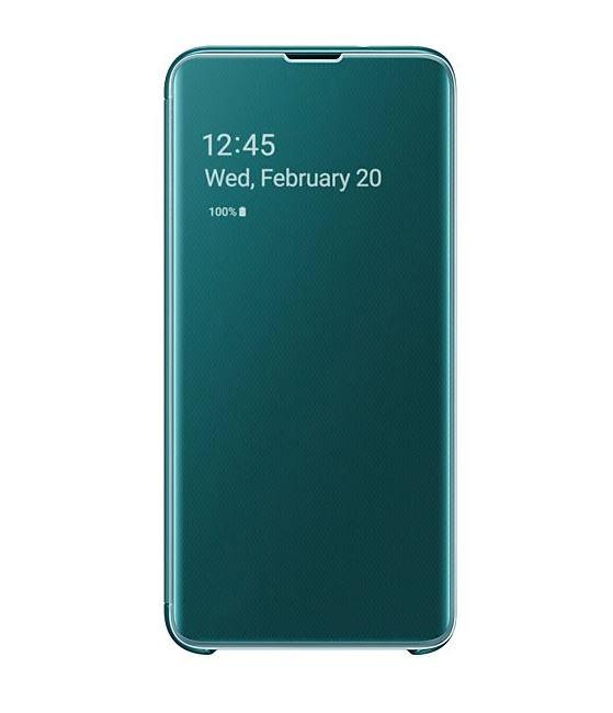 Flipové originální pouzdro EF-ZG970CGE Clear View na mobil Samsung Galaxy S10e zelené (Originální flip kryt či obal EF-ZG970CGE na mobil Samsung Galaxy S10e Clear View Green)