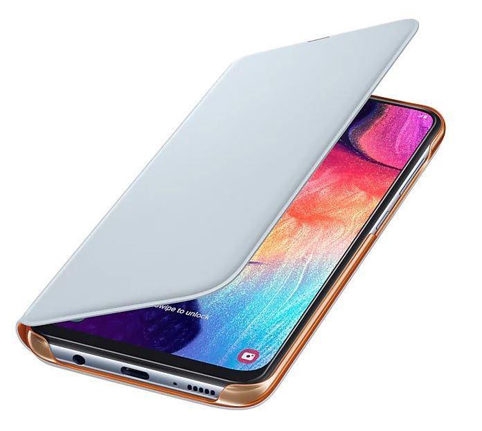 Originální flip pouzdro EF-WA505PWE na mobil Samsung Galaxy A50 bílé (EF-WA505PWE Samsung Wallet Pouzdro pro Galaxy A50 White (EU Blister))