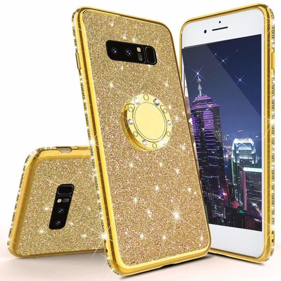 Třpytivé silikonové pouzdro Diamond Ring na mobil Samsung Galaxy S10 zlaté (Třpytivý silikonový kryt či obal Diamond Ring na mobil Samsung Galaxy S10 zlatý)