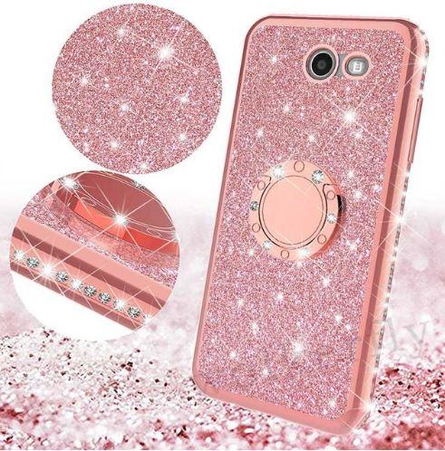 Třpytivé silikonové pouzdro Diamond Ring na mobil Samsung Galaxy J6 Plus růžové (Třpytivý silikonový kryt či obal Diamond Ring na mobil Samsung Galaxy J6+ růžový)