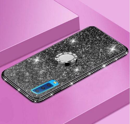 Třpytivé silikonové pouzdro Diamond Ring na mobil Samsung Galaxy A7 (2018) černé (Třpytivý silikonový kryt či obal Diamond Ring na mobil Samsung Galaxy A7 2018 černý)