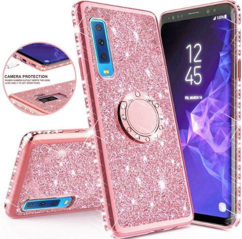 Třpytivé silikonové pouzdro Diamond Ring na mobil Samsung Galaxy A7 (2018) růžové (Třpytivý silikonový kryt či obal Diamond Ring na mobil Samsung Galaxy A7 2018 růžový)