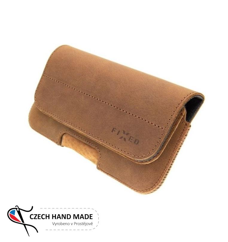 Horizontální kožené pouzdro FIXED Posh na opasek, vel. 4XL, hnědé (Univerzální pouzdro či kryt na pásek, opasek z pravé hovězí kůže od českých zpracovatelů pro telefony s rozměry do 144,0 x 74,0 x 8,5 mm, velikost 4XL hnědé)