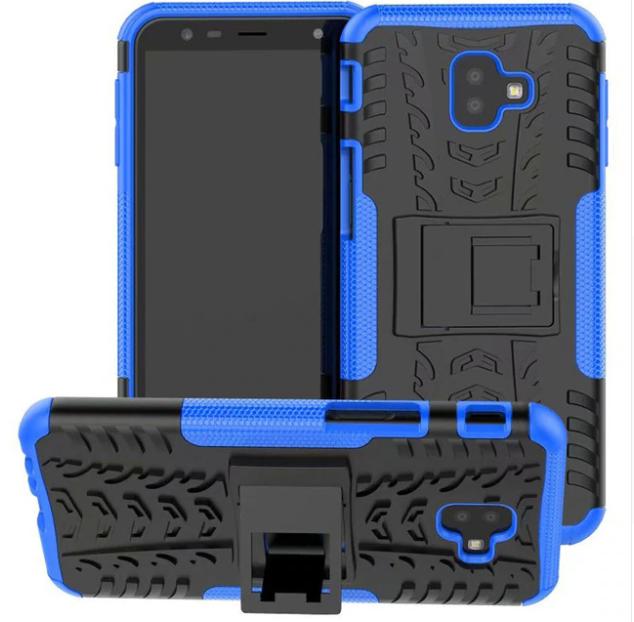Odolné pouzdro PANZER CASE NEO MODRÉ na mobil Samsung Galaxy J6 Plus / Samsung Galaxy J4 Plus (Odolný kryt či obal Panzer na mobil Samsung Galaxy J6+ / Samsung Galaxy J4+ se stojánkem - Modrý)