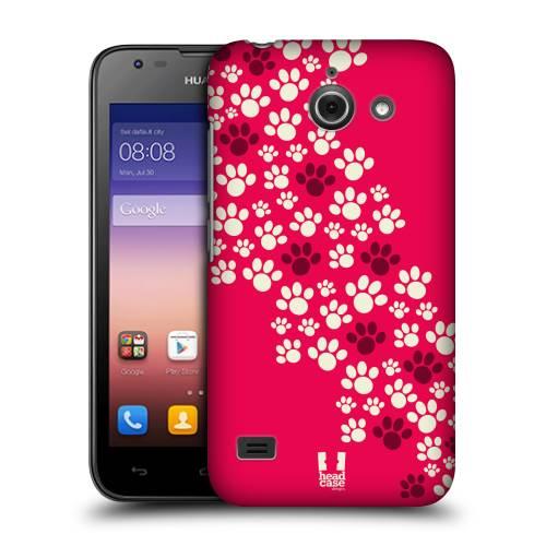 Pouzdro na mobil Huawei Ascend Y550 HEAD CASE TLAPKY RŮŽOVÉ (Kryt či obal na mobil Huawei Ascend Y550)
