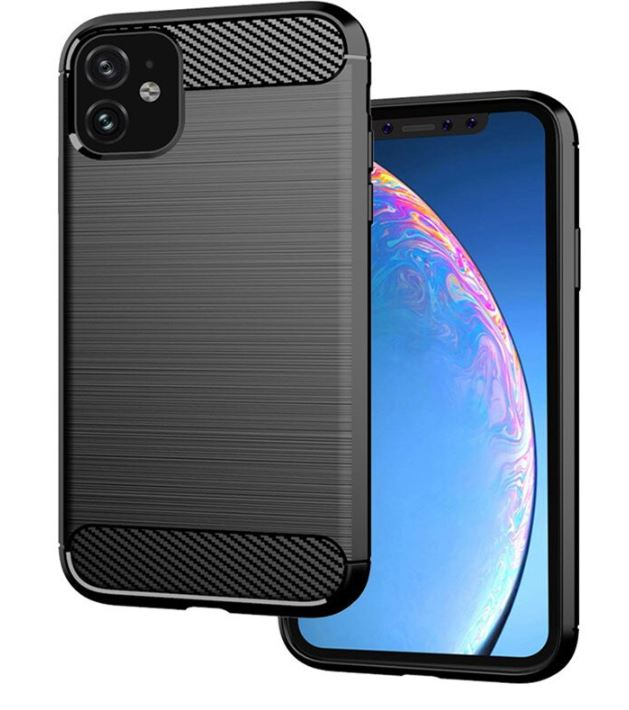 Pouzdro Carbon Brushed  na mobil Apple iPhone 11 Černé