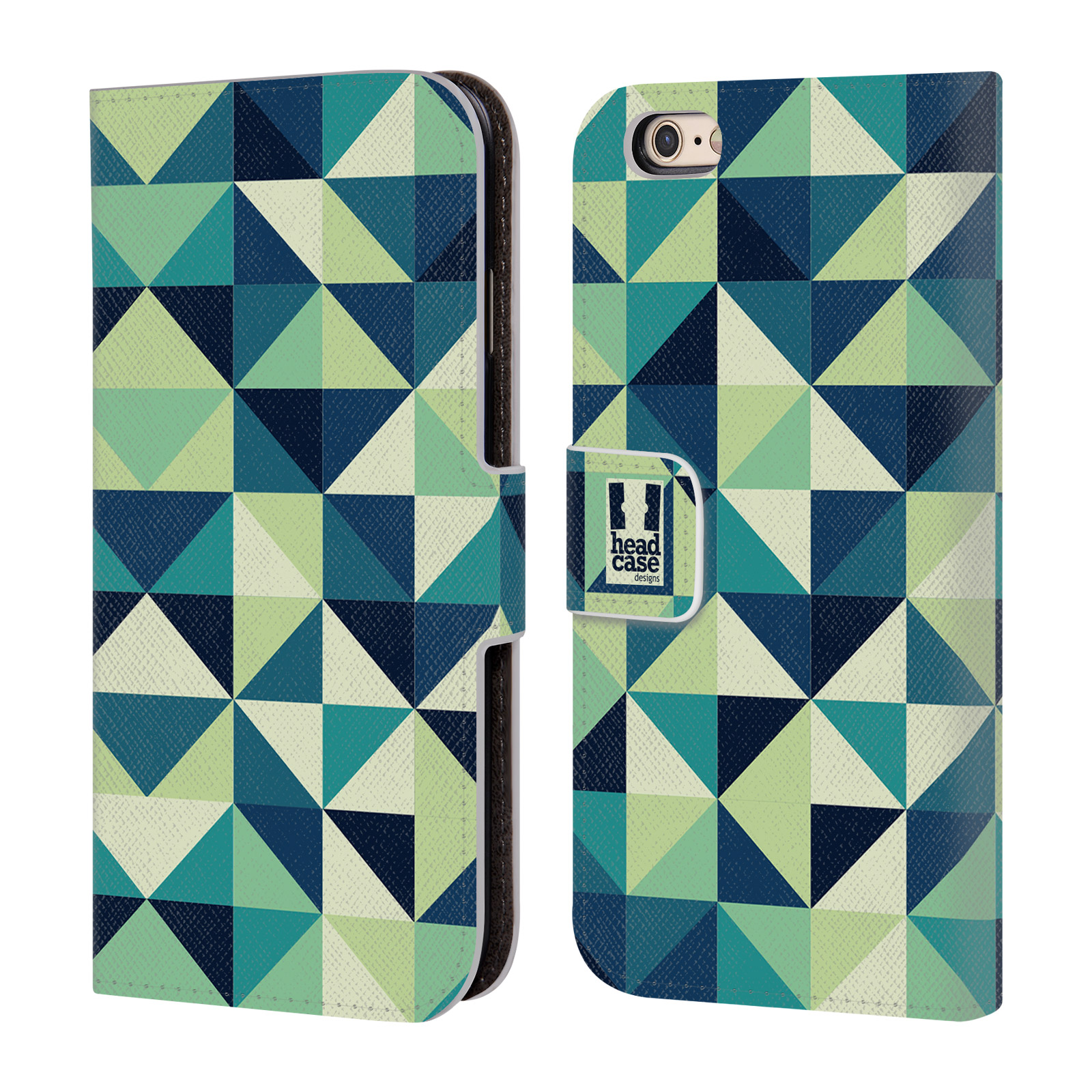 Flipové pouzdro na mobil Apple iPhone 6 a 6S HEAD CASE GREEN GEOMETRIC