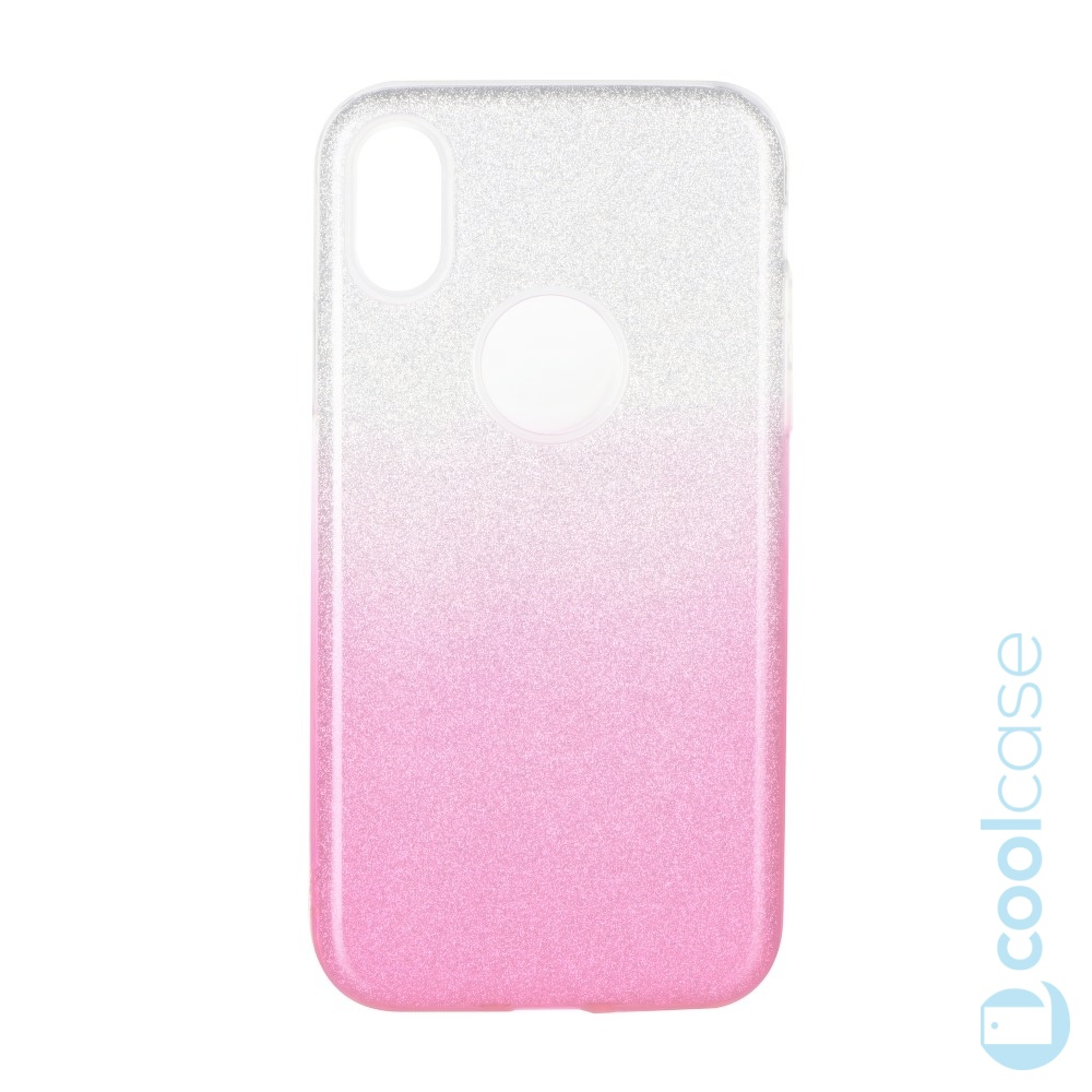 Třpytivé pouzdro Forcell Shining na mobil Apple iPhone X / Apple iPhone XS Pink Silver