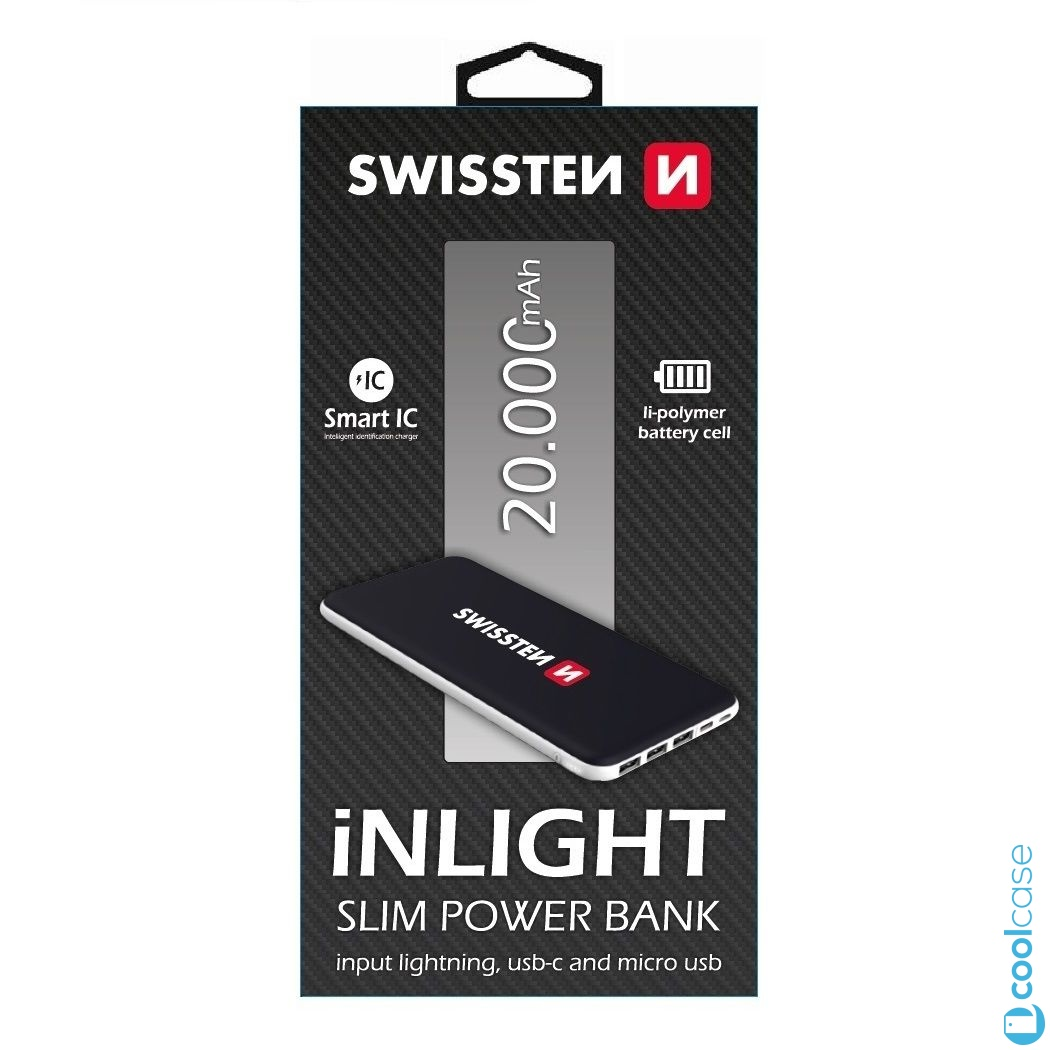 Power banka SWISSTEN iNLIGHT SLIM 20 000 mAh Vstup microUSB, lightning, USB-C