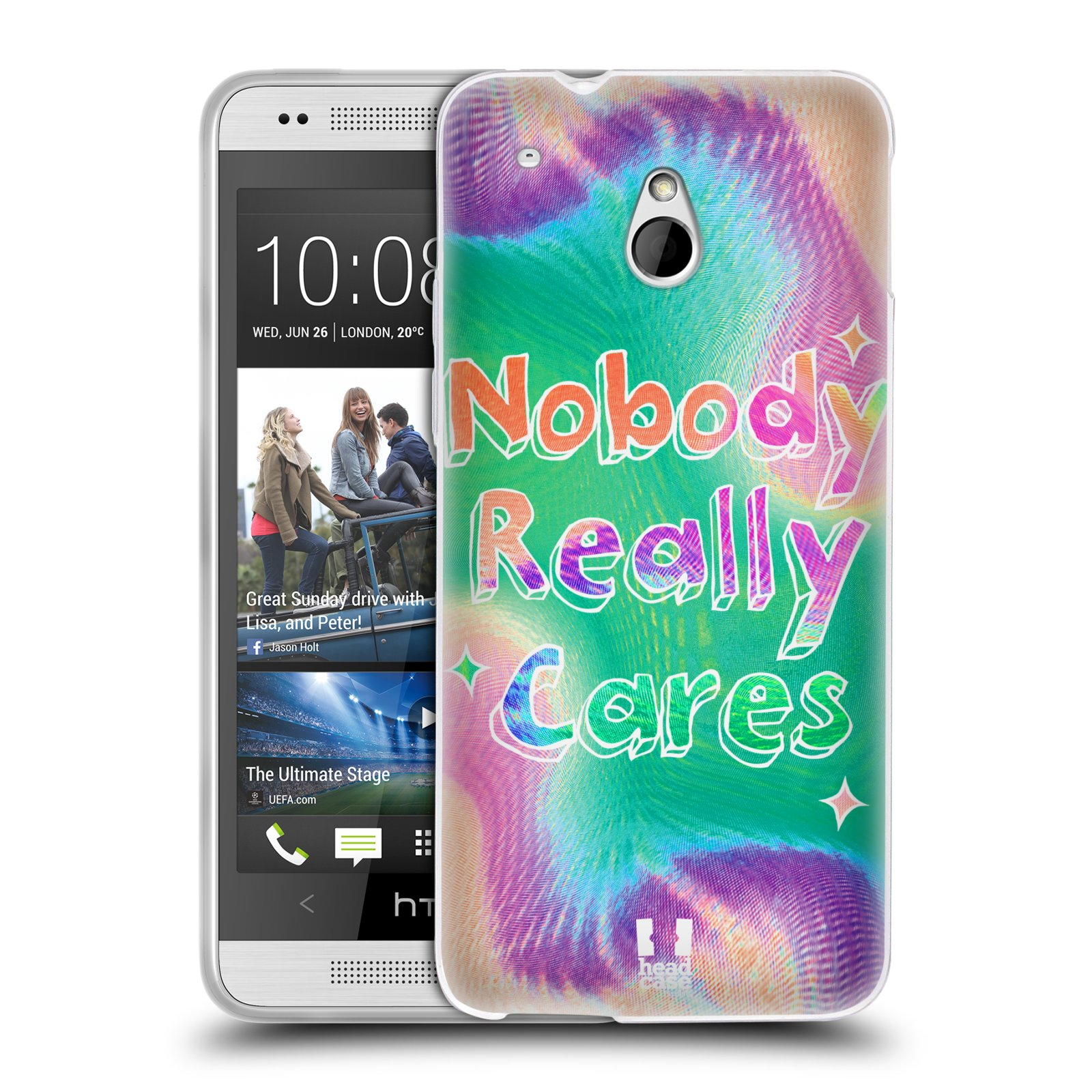 Silikonové pouzdro na mobil HTC ONE Mini HEAD CASE HOLOGRAF NOBODY CARES