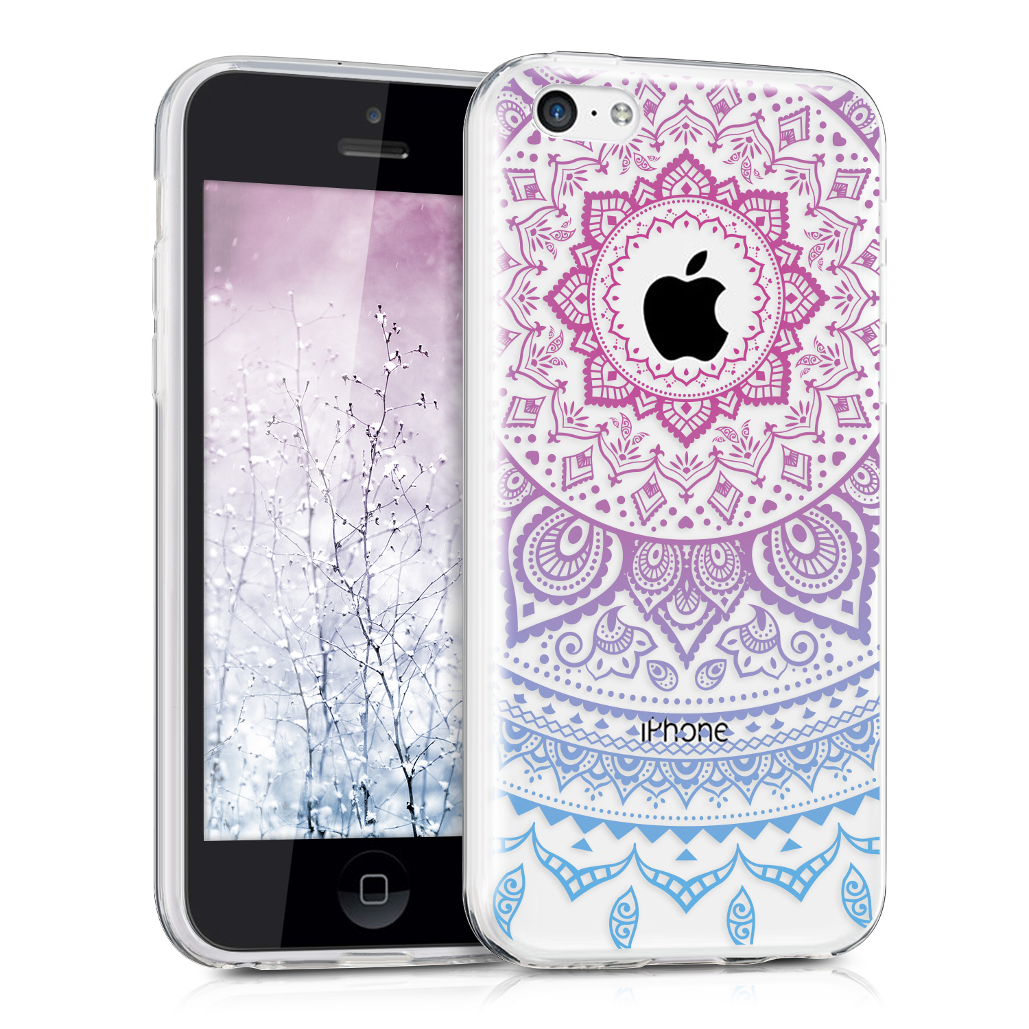 Silikonové pouzdro kwmobile Crystal pro mobil Apple iPhone 5C Pink blue indian sun