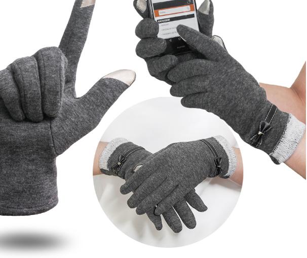 Rukavice na dotykový displej mobilu BOW Dámské - šedé  ba81e0b9a2