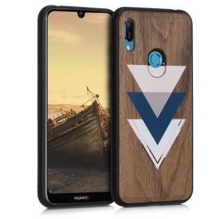 Dřevěné pouzdro KWmobile na mobil Huawei Y6 2019 / Honor 8A Wood and Triangles
