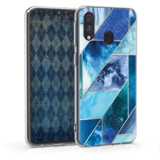 Silikonové pouzdro kwmobile Crystal pro mobil Samsung Galaxy A40 Blue Glory Pattern Deluxe