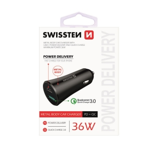 CL adaptér do autozapalovače SWISSTEN POWER DELIVERY USB-C + QUICK CHARGE 3.0 36W černý