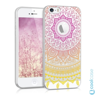 Silikonové pouzdro kwmobile Crystal pro mobil Apple iPhone 5 / 5S / SE Pink yellow indian sun