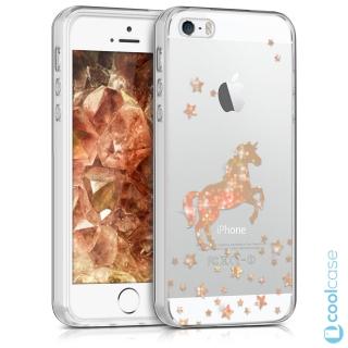 Silikonové pouzdro kwmobile Crystal pro mobil Apple iPhone 5   5S   SE  Zlatavý jednorožec empty 6e8e03c7107