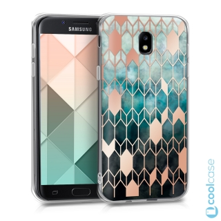 Silikonové pouzdro kwmobile Crystal na mobil Samsung Galaxy J5 (2017) Blue Rose Gold Glory Design