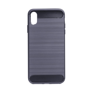 Pouzdro na mobil Carbon Brushed pro Apple iPhone XS Max Navy modré
