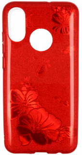 Třpytivé pouzdro Glitter Flower na mobil Huawei Y6 2019 / Honor 8A Red