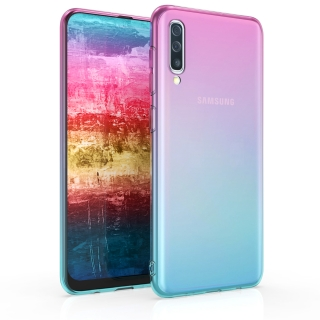 Silikonové pouzdro kwmobile Crystal pro mobil Samsung Galaxy A50 / A30s Pink blue bicolor