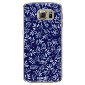 Plastové pouzdro iSaprio Blue Leaves 05 na mobil Samsung Galaxy S6 Edge