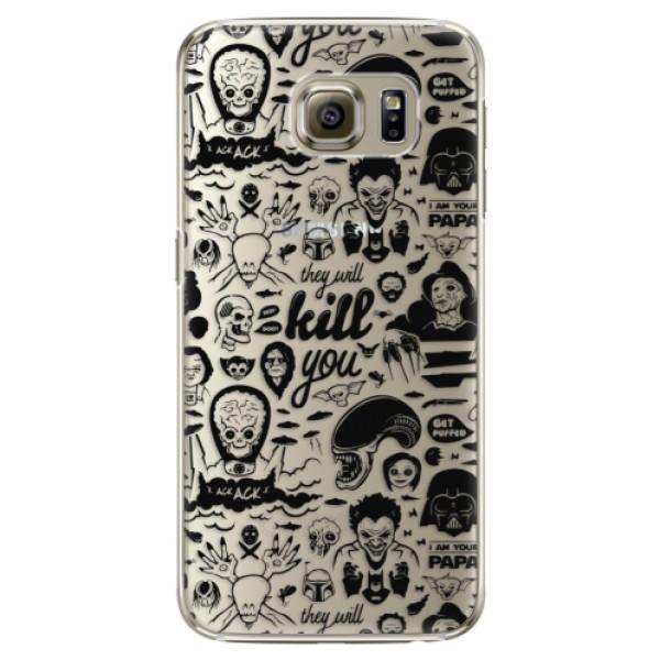 Plastové pouzdro iSaprio Comics 01 black na mobil Samsung Galaxy S6 Edge (Plastový obal, kryt, pouzdro iSaprio Comics 01 black na mobilní telefon Samsung Galaxy S6 Edge)