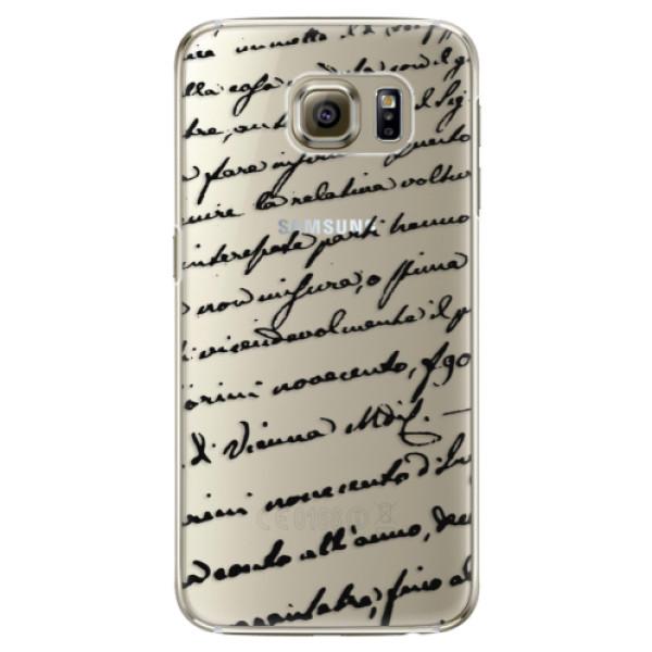 Plastové pouzdro iSaprio Handwriting 01 black na mobil Samsung Galaxy S6 Edge (Plastový obal, kryt, pouzdro iSaprio Handwriting 01 black na mobilní telefon Samsung Galaxy S6 Edge)