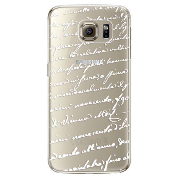 Plastové pouzdro iSaprio Handwriting 01 white na mobil Samsung Galaxy S6 Edge (Plastový obal, kryt, pouzdro iSaprio Handwriting 01 white na mobilní telefon Samsung Galaxy S6 Edge)