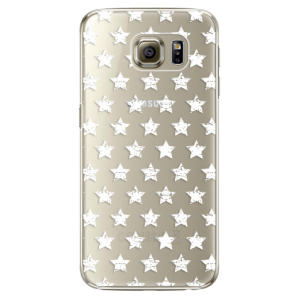 Plastové pouzdro iSaprio Stars Pattern white na mobil Samsung Galaxy S6 Edge (Plastový obal, kryt, pouzdro iSaprio Stars Pattern white na mobilní telefon Samsung Galaxy S6 Edge)