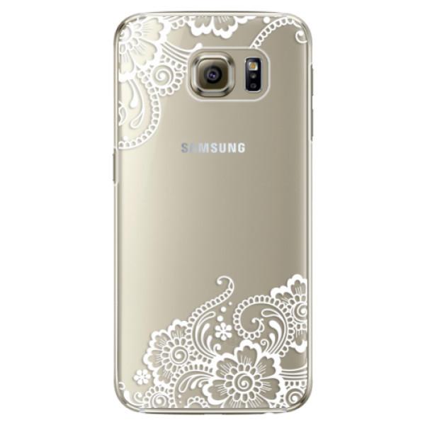 Plastové pouzdro iSaprio white Lace 02 na mobil Samsung Galaxy S6 Edge (Plastový obal, kryt, pouzdro iSaprio white Lace 02 na mobilní telefon Samsung Galaxy S6 Edge)
