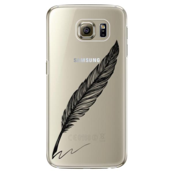 Plastové pouzdro iSaprio Writing By Feather black na mobil Samsung Galaxy S6 Edge (Plastový obal, kryt, pouzdro iSaprio Writing By Feather black na mobilní telefon Samsung Galaxy S6 Edge)