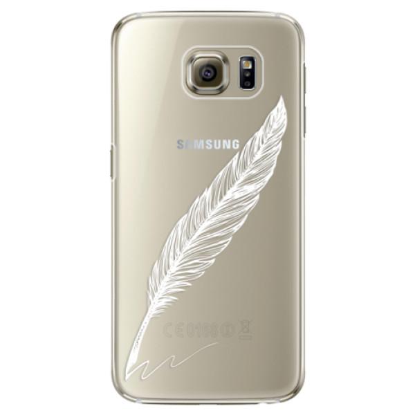 Plastové pouzdro iSaprio Writing By Feather white na mobil Samsung Galaxy S6 Edge (Plastový obal, kryt, pouzdro iSaprio Writing By Feather white na mobilní telefon Samsung Galaxy S6 Edge)