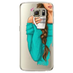 Plastové pouzdro iSaprio My Coffe and Brunette Girl na mobil Samsung Galaxy S6 Edge