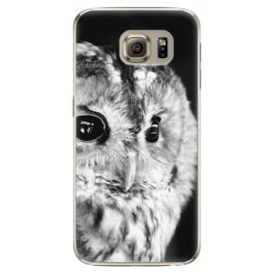 Plastové pouzdro iSaprio BW Owl na mobil Samsung Galaxy S6 Edge
