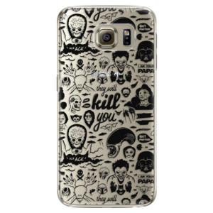 Plastové pouzdro iSaprio Comics 01 black na mobil Samsung Galaxy S6 Edge Plus