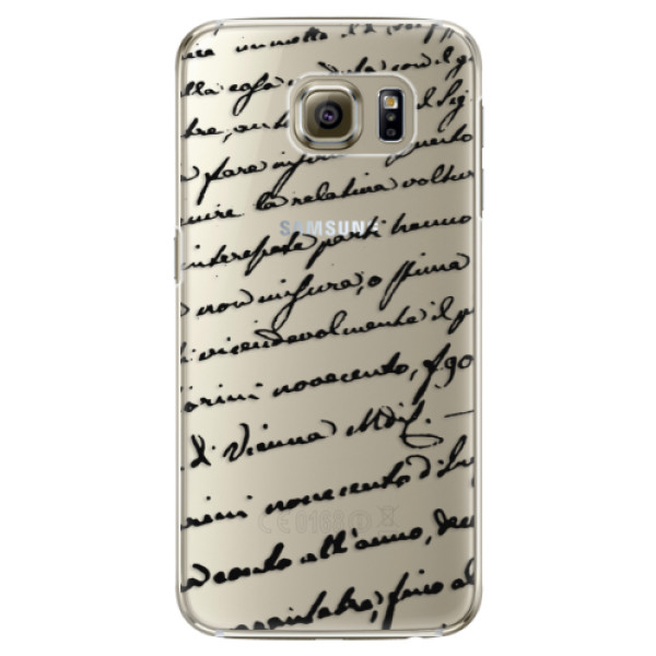 Plastové pouzdro iSaprio Handwriting 01 black na mobil Samsung Galaxy S6 Edge Plus (Plastový obal, kryt, pouzdro iSaprio Handwriting 01 black na mobilní telefon Samsung Galaxy S6 Edge Plus)