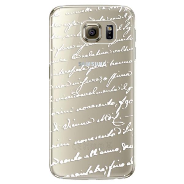 Plastové pouzdro iSaprio Handwriting 01 white na mobil Samsung Galaxy S6 Edge Plus (Plastový obal, kryt, pouzdro iSaprio Handwriting 01 white na mobilní telefon Samsung Galaxy S6 Edge Plus)