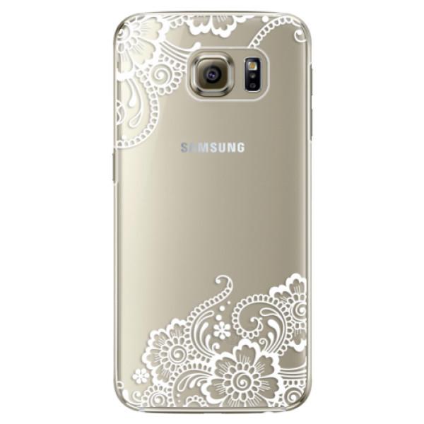 Plastové pouzdro iSaprio white Lace 02 na mobil Samsung Galaxy S6 Edge Plus (Plastový obal, kryt, pouzdro iSaprio white Lace 02 na mobilní telefon Samsung Galaxy S6 Edge Plus)