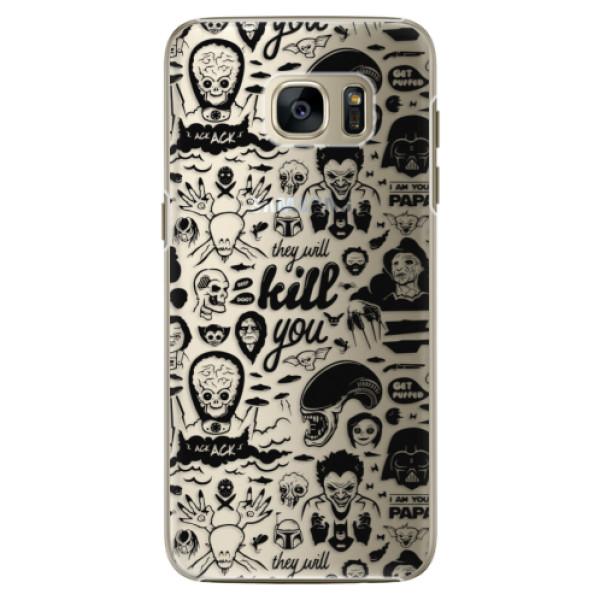 Plastové pouzdro iSaprio Comics 01 black na mobil Samsung Galaxy S7 (Plastový obal, kryt, pouzdro iSaprio Comics 01 black na mobilní telefon Samsung Galaxy S7)