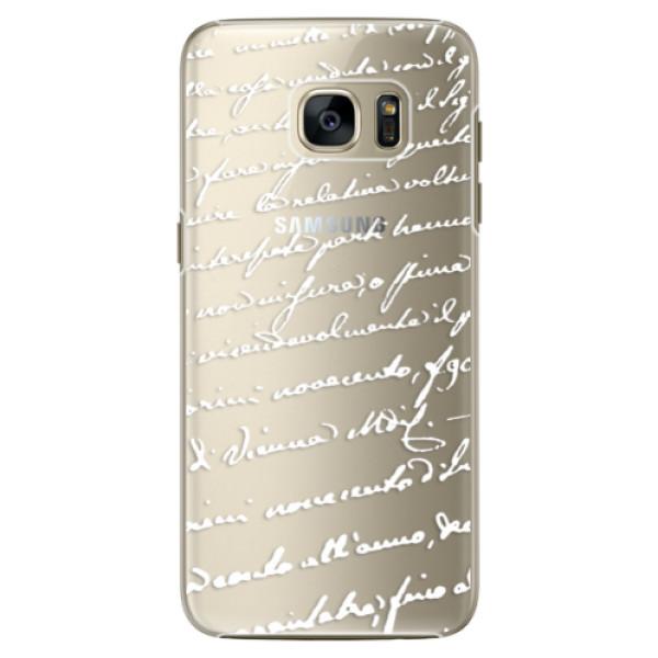 Plastové pouzdro iSaprio Handwriting 01 white na mobil Samsung Galaxy S7 (Plastový obal, kryt, pouzdro iSaprio Handwriting 01 white na mobilní telefon Samsung Galaxy S7)