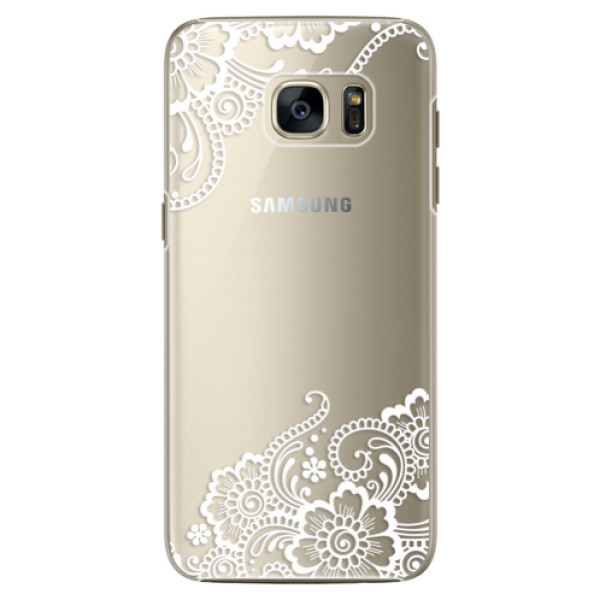 Plastové pouzdro iSaprio white Lace 02 na mobil Samsung Galaxy S7 (Plastový obal, kryt, pouzdro iSaprio white Lace 02 na mobilní telefon Samsung Galaxy S7)