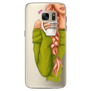 Plastové pouzdro iSaprio My Coffe and Redhead Girl na mobil Samsung Galaxy S7