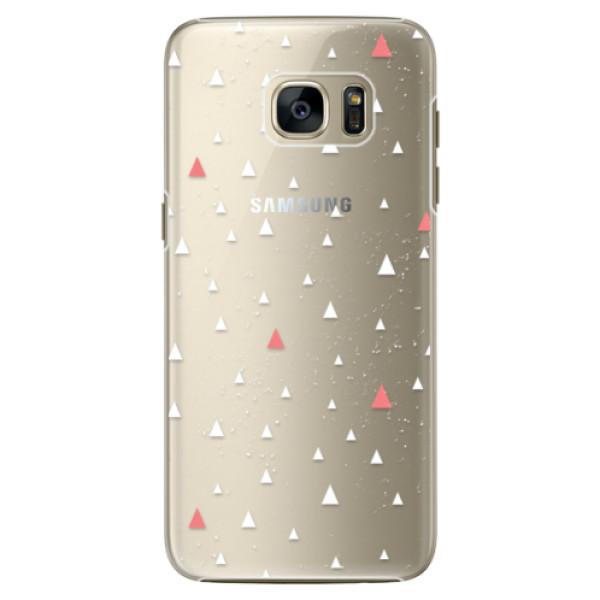 Plastové pouzdro iSaprio Abstract Triangles 02 white na mobil Samsung Galaxy S7 Edge (Plastový obal, kryt, pouzdro iSaprio Abstract Triangles 02 white na mobilní telefon Samsung Galaxy S7 Edge)
