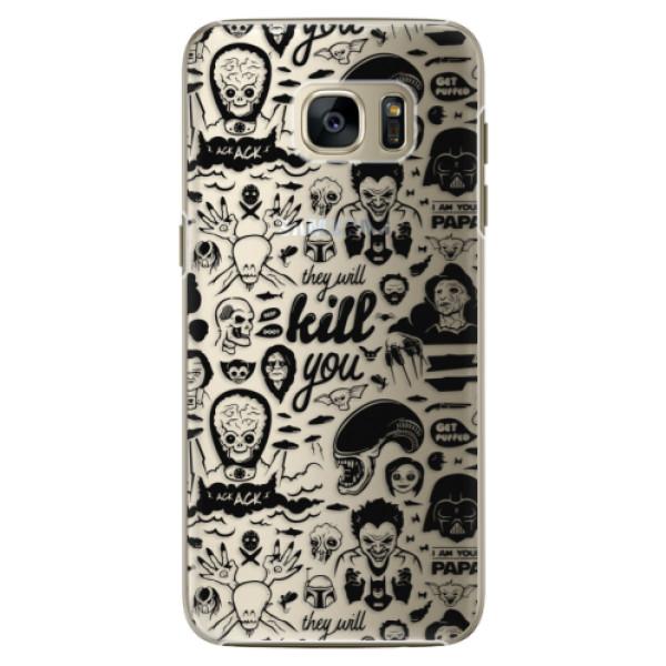Plastové pouzdro iSaprio Comics 01 black na mobil Samsung Galaxy S7 Edge (Plastový obal, kryt, pouzdro iSaprio Comics 01 black na mobilní telefon Samsung Galaxy S7 Edge)
