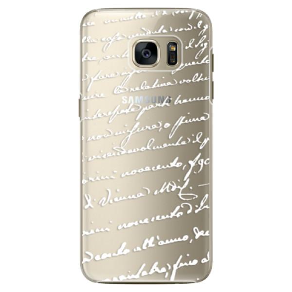 Plastové pouzdro iSaprio Handwriting 01 white na mobil Samsung Galaxy S7 Edge (Plastový obal, kryt, pouzdro iSaprio Handwriting 01 white na mobilní telefon Samsung Galaxy S7 Edge)