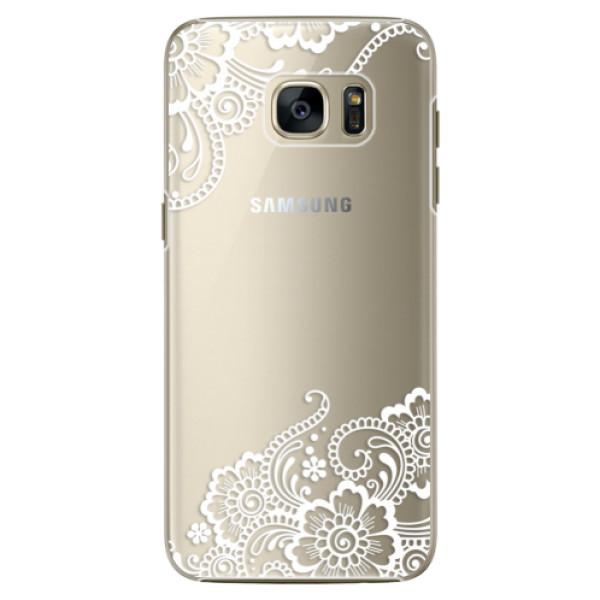 Plastové pouzdro iSaprio white Lace 02 na mobil Samsung Galaxy S7 Edge (Plastový obal, kryt, pouzdro iSaprio white Lace 02 na mobilní telefon Samsung Galaxy S7 Edge)